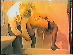 Amateur vintage movie with a skinny MILF in shower