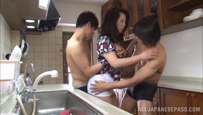 Japanese mature  threesome