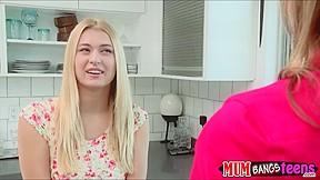 Stepmom Julia Ann teaches Natalia Starr how to stroke a cock