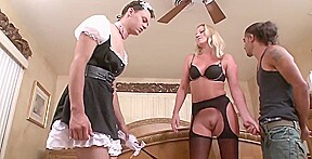 Helping wife shave pussy