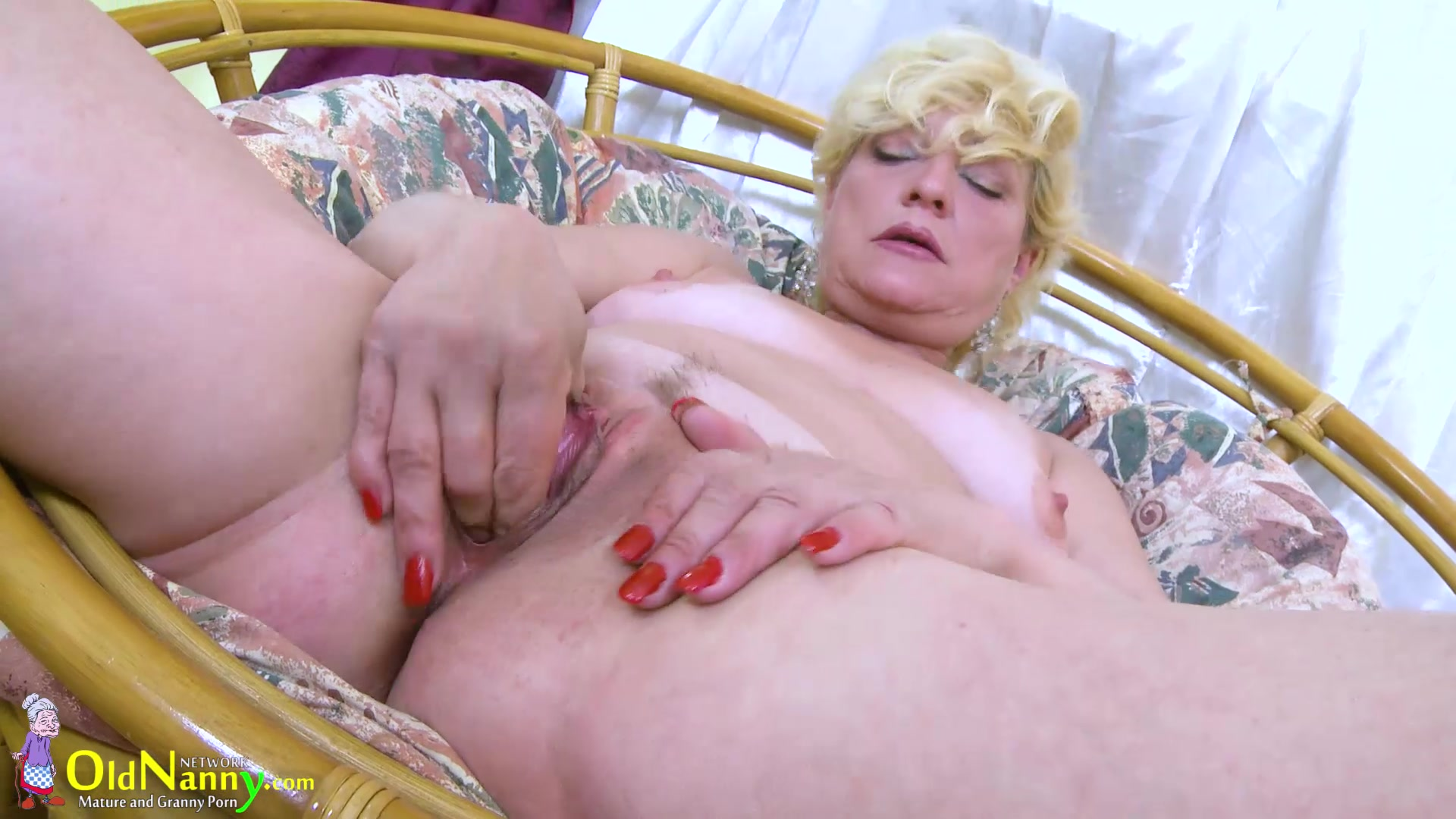 Oldnanny Blonde Mature Solo Titplay And Fingering  Old -9300