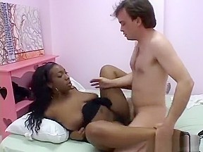 Ebony teen shows off big