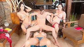 Teen threesome creampie eating