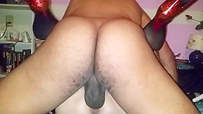 Black riding white cock