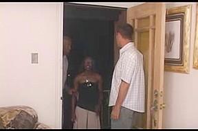 Tight ebony chick gets fucked in interracial gang bang