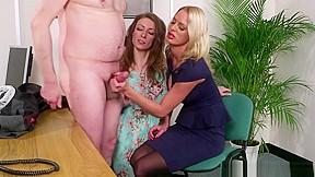 Hot office lesbian women having sex