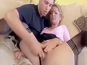 Mature granny masturbating in high heels