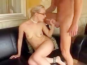 Old grandma eating young man cum