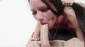 Aggresive big tit brunette