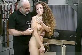 Young virgin girl striping