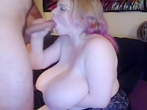 Big breasted beauty bounces on dildo