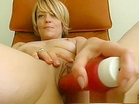 Short haired blond gives great blowjob