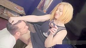 Redhead slut busy with three cocks