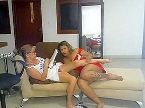 Lesbian big tit threesome