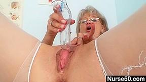 Smutty old mamma in nurse uniform wild masturbation