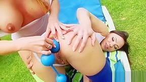 Horny teen cums in ass