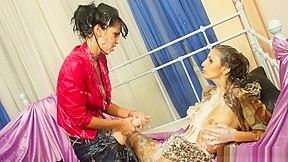 Lesbians hot lesbian pantyhose action