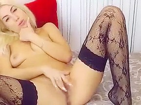 Perfect blonde girl in homemade action