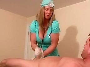 Nurse handjob and milking
