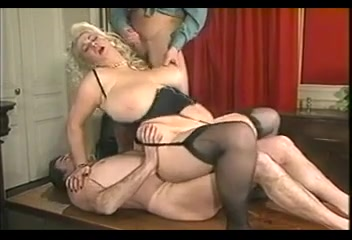 BBW BLONDE MILF WITH HUGE BOOBS FUCKED BY TWO MEN