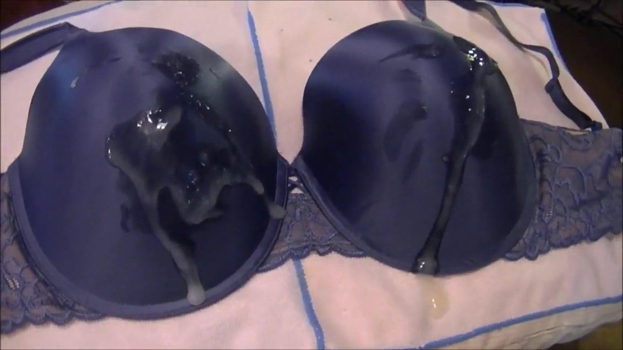 Jerking and Cumming On A Sexy 40DD Blue Bra
