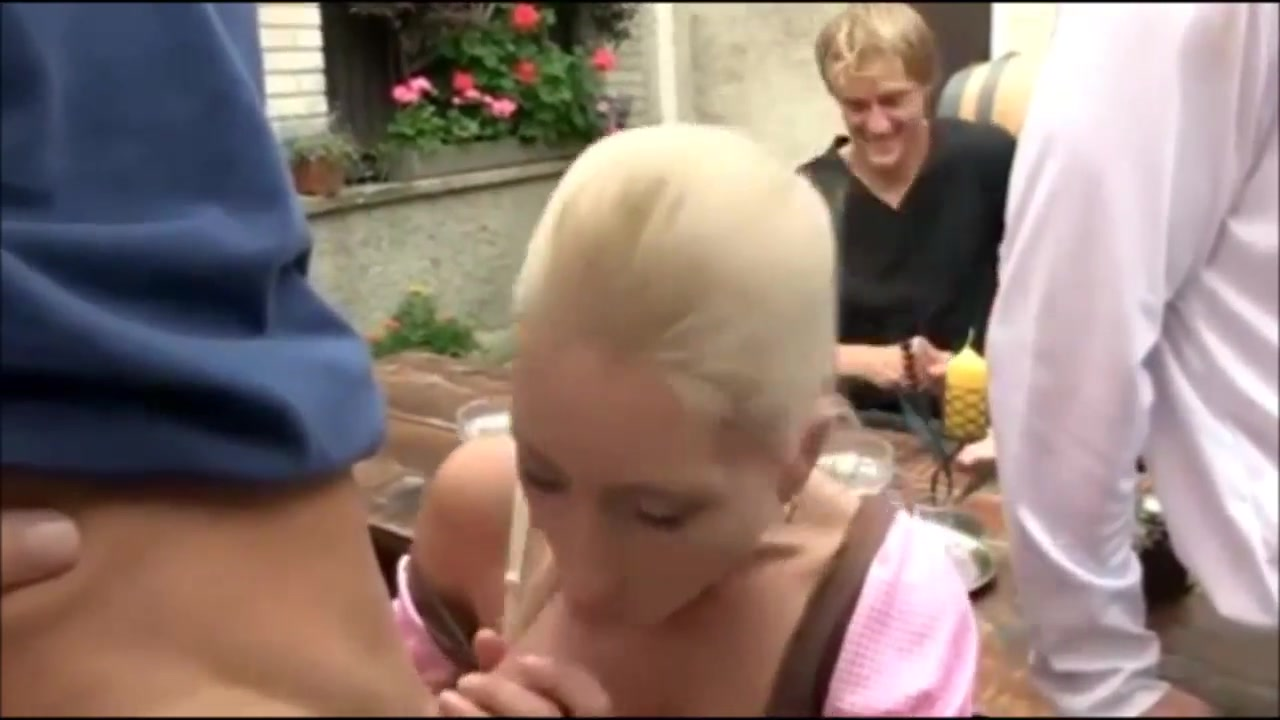 German theme drinking party turns into fuckfest in dirndl