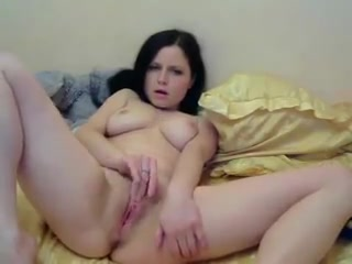 Brunette with beautiful tits perfectly fingers her hollow