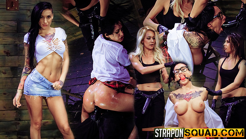 Naughty Schoolgirl Alby Rydes is Punished by Mila Blaze & Isa Mendez - StrapOnSquad