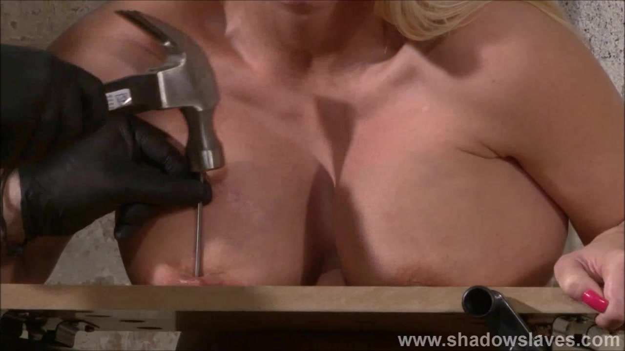 Tit nailing torture of busty Melanie Moon in pussy pain and extreme breast punishments of German masochist