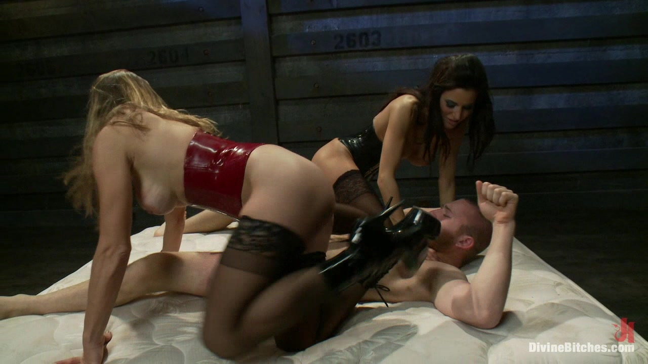 18 year old slaveboy chewed up and spit out by two HOT femdom nymph Bitches