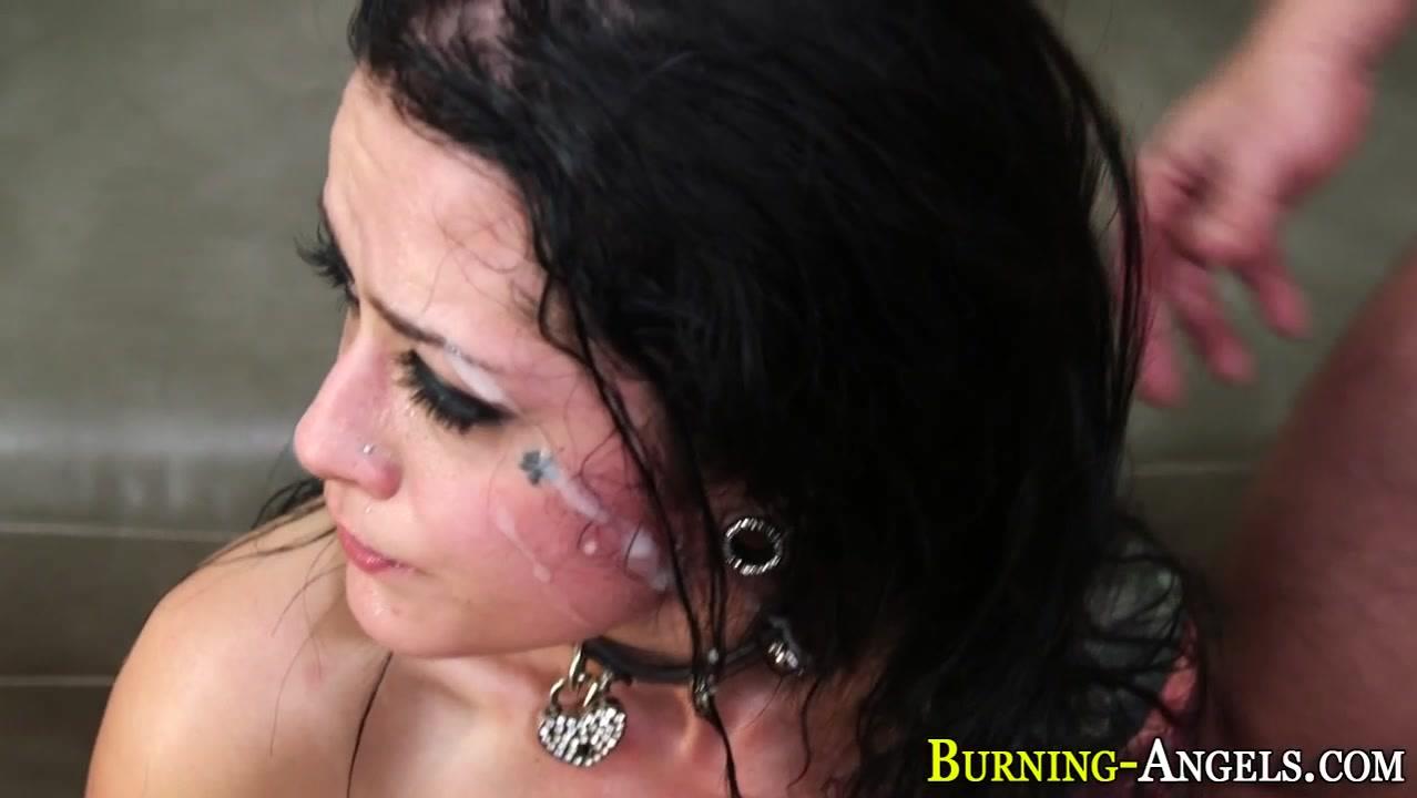 Emo hottie gets facial