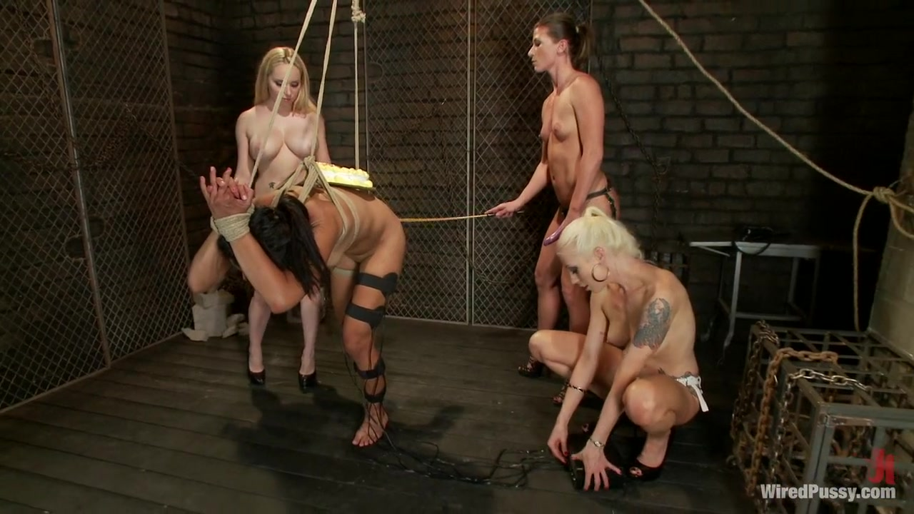 Three Hot Dommes, One Tough Sub, All Girl Wiredpussy Gangbang!!!