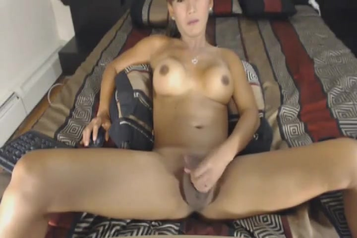 Big Tits Shemale Masturbates Her Big Cock