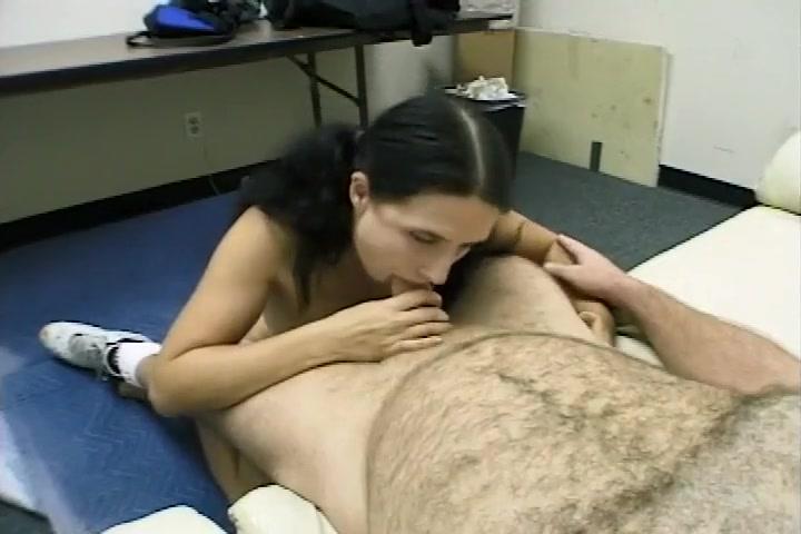 Brunette Cocksucker Takes Huge Body Shot