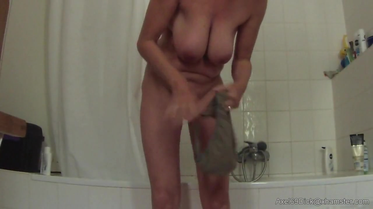 Busty saggy milf before   after shower on hidden cam