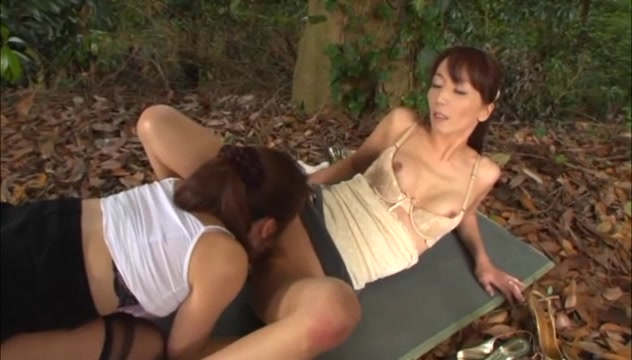 Shiho and Maki Hokujo Hot mature Asian lesbians enjoy some outdoor sex