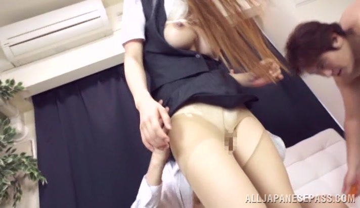 Yuuka Minase naughty Asian office lady in wicked threesome