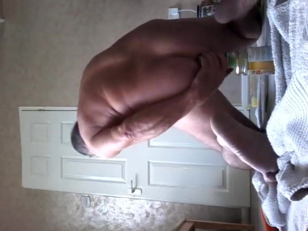 Seven inch round bottle pushed up tight ass hole