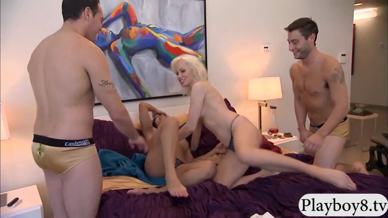 Two sexy ladies having fun and foursome in the bedroom