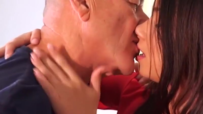 Old men french kissing making out with junior college girl