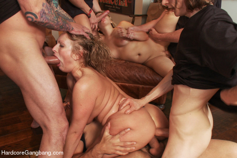 Slutty Step-Sisters Get Gangbanged By 8 Men - HardcoreGangbang