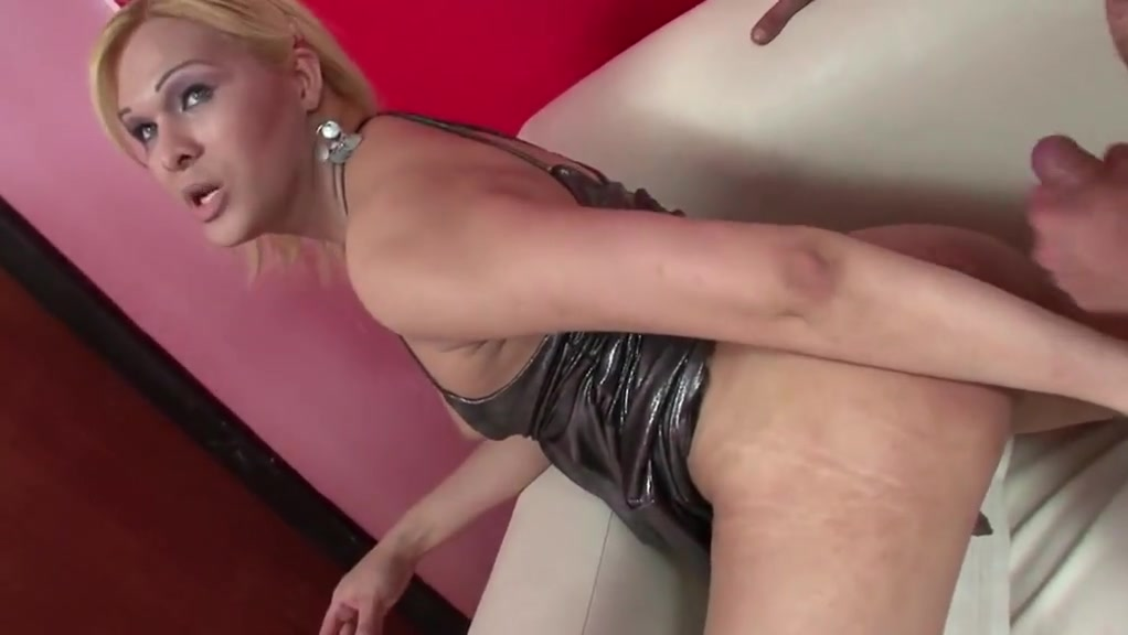 Lucky dude fucks two busty shemales