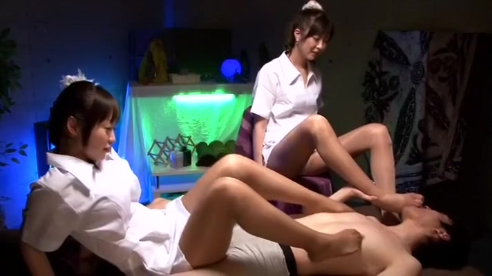 crazy japanese girl kotone amamiya, yuu shinoda, sae aihara in exotic footjob, foot fetish jav video