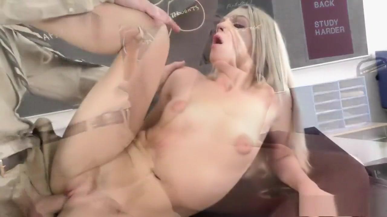 Hot blonde schoolgirl Ally Brooks fucks her teacher for a better grade