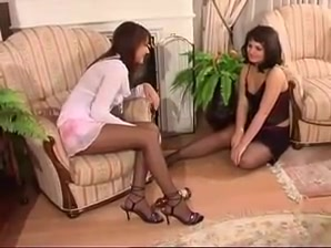 two super hot slim brunettes fuck in the living room