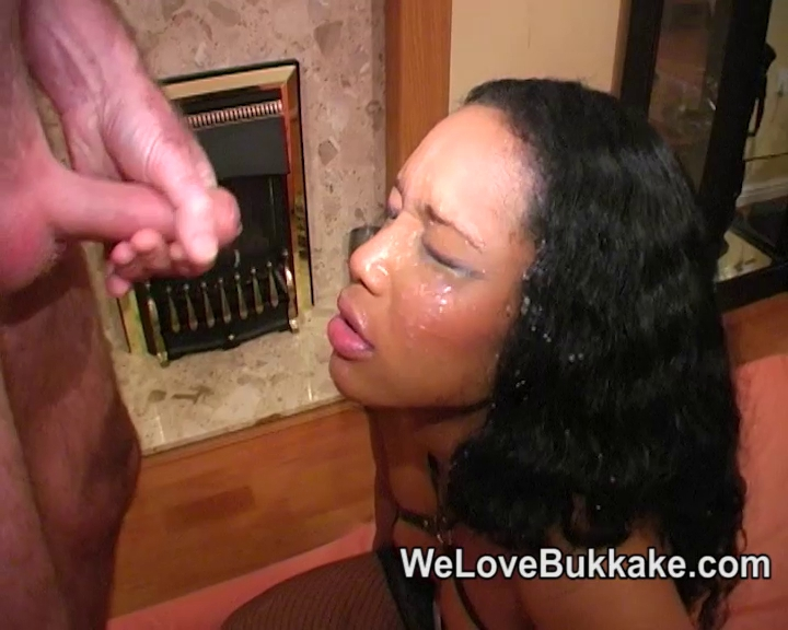 darksome lady with white dongs takes facual cumshots