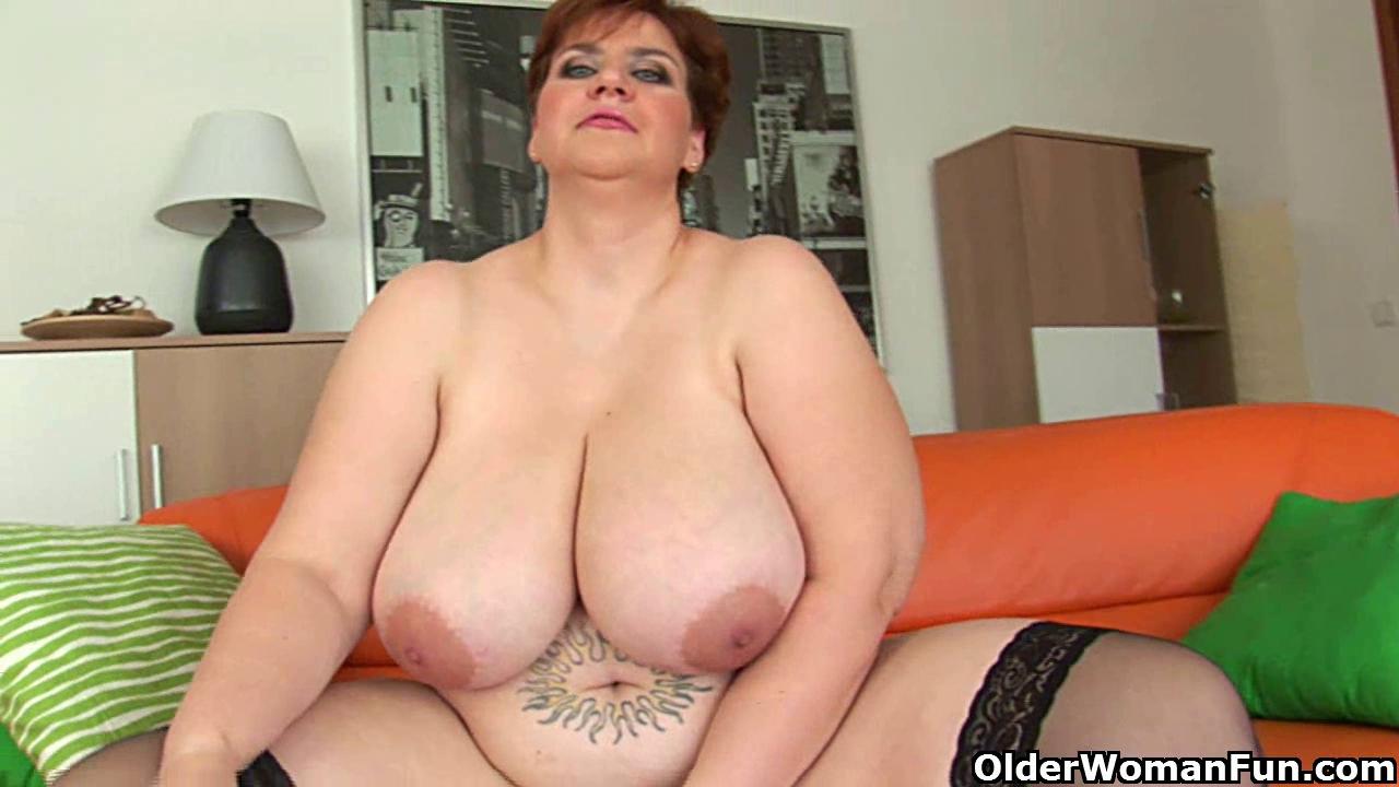 Voluptuous old woman with massive boobs copulates a marital-device |  Txxx.com