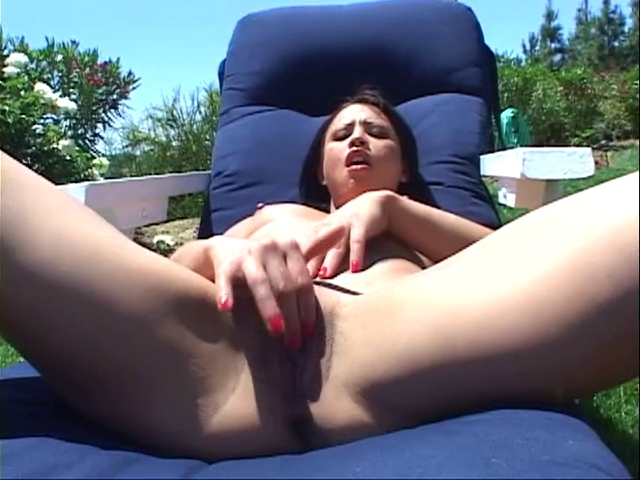 lewd whore  with diminutive zeppelins friskily fingers her starved wet pink slit outdoor