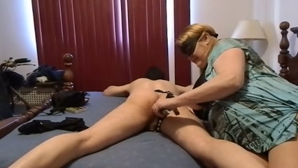 Fat MILF babe with big tits fucking her submissive boy