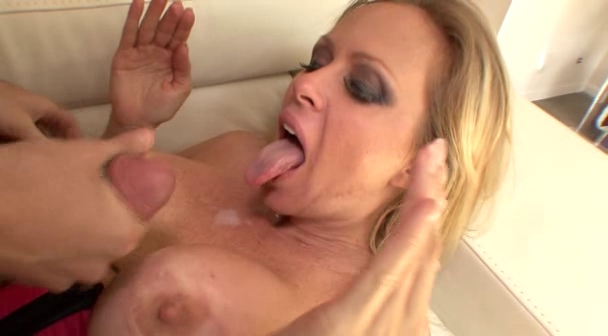 big tits of a milf get covered with hot steamy jizz